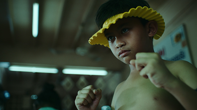 Kid in a fighting position